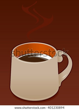 A steamy mug of hot coffee or chocolate on a burnt-ochre background