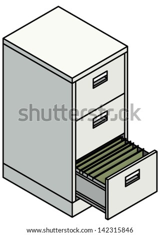 A Steel 3 Drawer Filing Cabinet With One Drawer Opened To Show Suspension  File Dividers