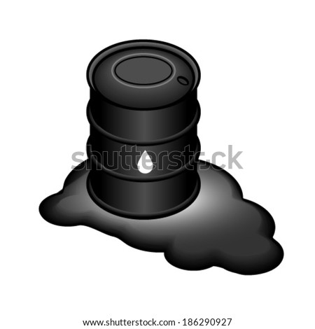 A steel drum of crude oil sitting in a puddle.