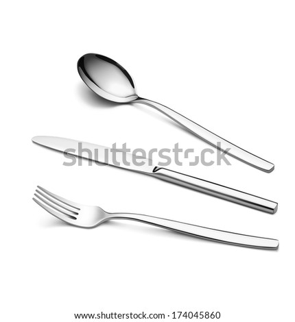 A steel fork, spoon and knife isolated on white background. Vector illustration. Realistic. Print quality. Detailed. - stock vector