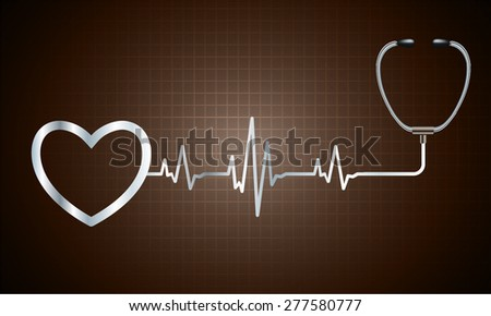 A stethoscope with a heart beat. Illustration. Monitor, pulse. wave. dark brown Technology background for computer graphic website and internet. web icon. monitor. graph.