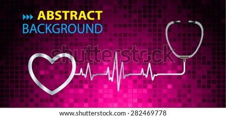 A stethoscope with a heart beat. Illustration. Monitor, pulse. wave. dark pink Technology background for computer graphic website and internet. web icon. monitor. graph. pixel - stock vector