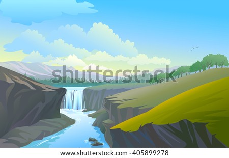 A stream flowing through hilly terrain - stock vector