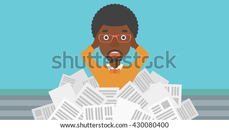 A stressed african-american man clutching his head because of having a lot of work to do with a heap of newspapers in front of him vector flat design illustration. Horizontal layout. - stock vector