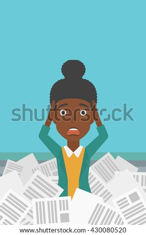 A stressed african-american woman clutching her head because of having a lot of work to do with a heap of newspapers in front of her vector flat design illustration. Vertical layout. - stock vector