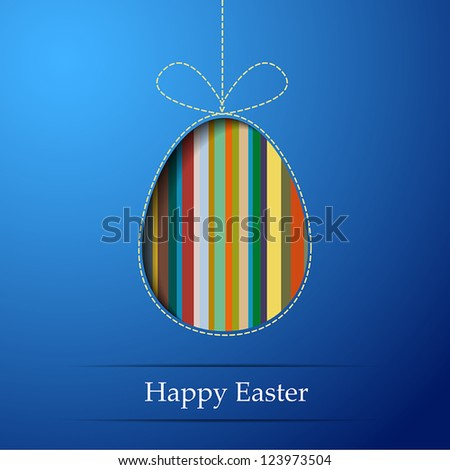 A striped egg on a blue background - stock vector