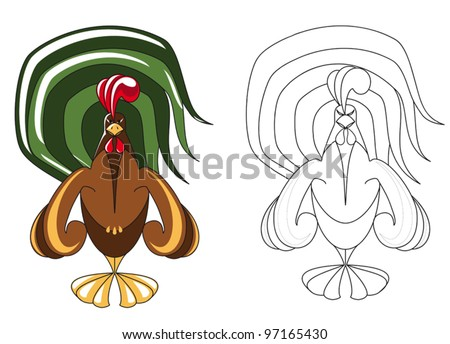 A strong Rooster coloring for kids - stock vector
