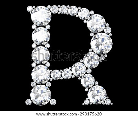 "A stunning beautiful ""R"" set in diamonds - stock vector"