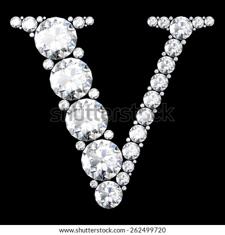 "A stunning beautiful ""V"" set in diamonds - stock vector"
