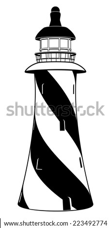 A stylised black and white lighthouse illustration with diagonal stripes - stock vector
