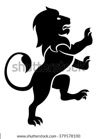 A stylised lion rampant, like the symbol for Leo - stock vector