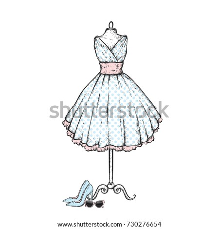 A stylish vintage dress, high heel shoes, retro glasses. Vector illustration. Fashion, style, clothing and accessories.