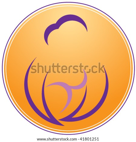 A stylized depiction of a happy mother, holding a baby. - stock vector