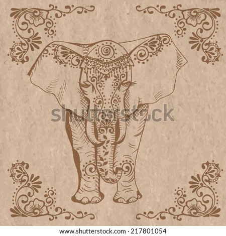 A stylized drawing of an elephant. Traditional painted in floral style. Mehendi. - stock vector