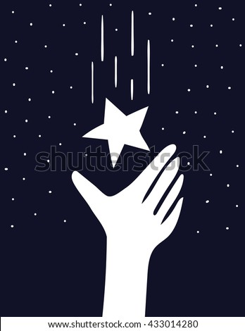 A stylized hand reaches up to catch a falling star in a the night sky full of stars