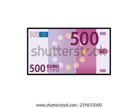 A stylized iconic colourful 500 Euro bank note / paper money. - stock vector