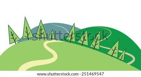 A stylized illustration with hills, trees and a winding road