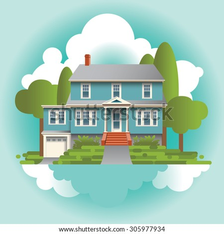 A Stylized Quaint Home in the Suburbs - stock vector