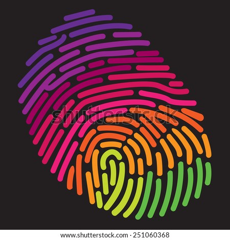 A stylized rainbow fingerprint  - stock vector
