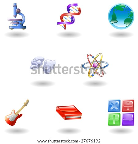 a subject or category icon set eg. science, maths, literature, geography, music, physics etc - stock vector