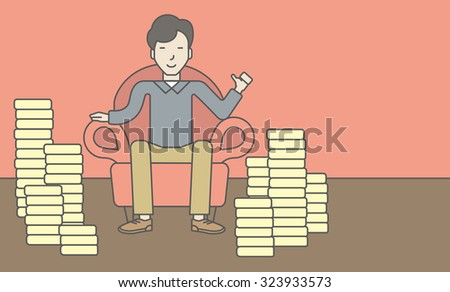 A successful asian businessman sitting in armchair with stacks of coins. Achievement concept. Vector line design illustration. Horizontal layout with a text space.