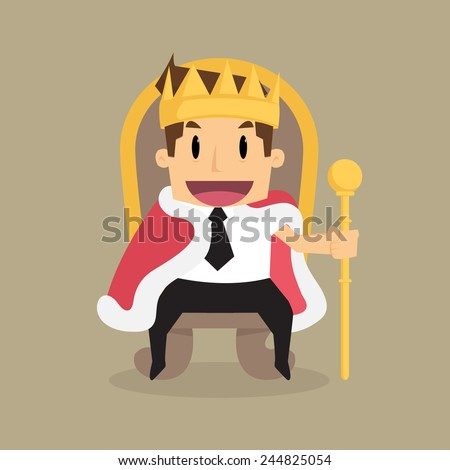 A successful businessman is sitting on the throne like a king.vector - stock vector