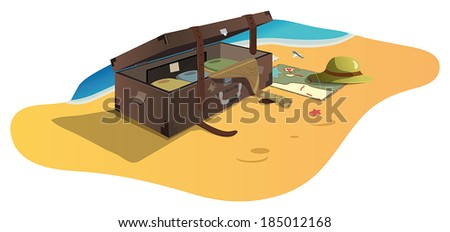 A suitcase at the seaside, the file format for EPS10.0, fully editable.  - stock vector