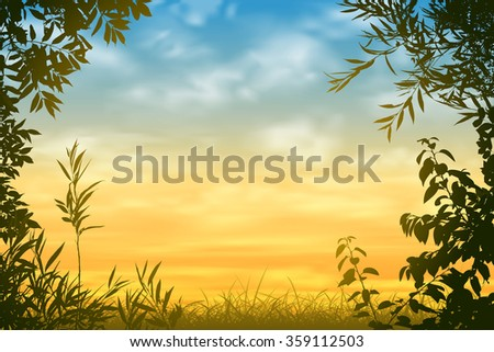 A Sunset Background with Floral Border and Leaves
