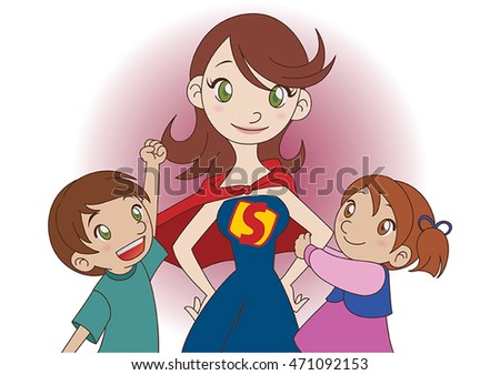 A super mom with her children, wearing a superhero uniform with a red cape.