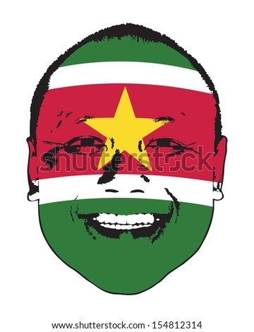A Suriname flag on a face, isolated against white.  - stock vector