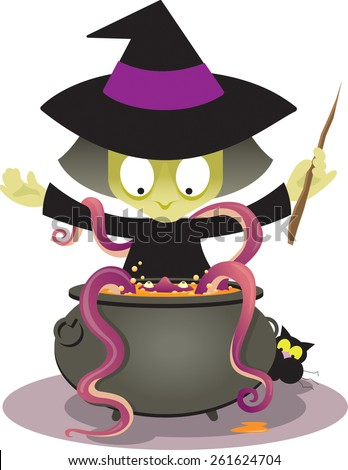 A surprised witch conjures up an unexpected slimy monster with creepy face and crawling tentacles. Vector illustration. - stock vector