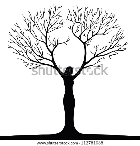 a surreal illustration of a woman tree - stock vector