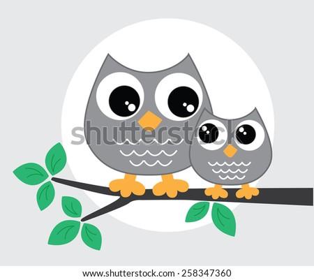 a sweet little owl family - stock vector