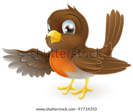 A sweet little Robin standing and pointing with its wing - stock vector