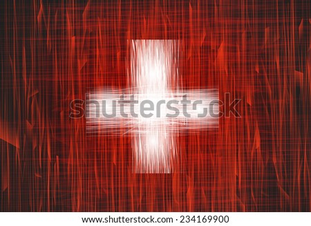 A swiss flag with a grunge texture - stock vector