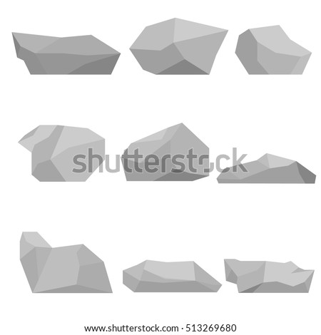 A symbol of the stone, the stone icon, vector stone, realistic stone, illustration of the stone, the stone image, gray stone, a large stone, small stones, stones set. Flat design, vector.