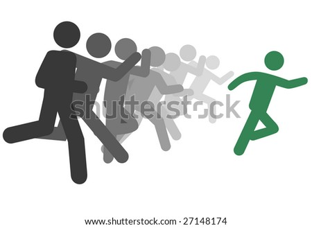 A symbol person leader and group of followers run as a team or to compete or to succeed.