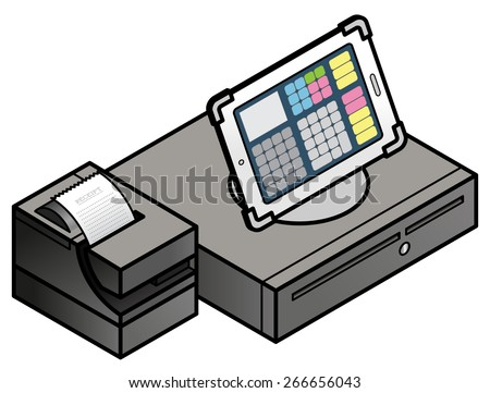 A tablet-based POS (point of sale) setup with a cash drawer and receipt printer.