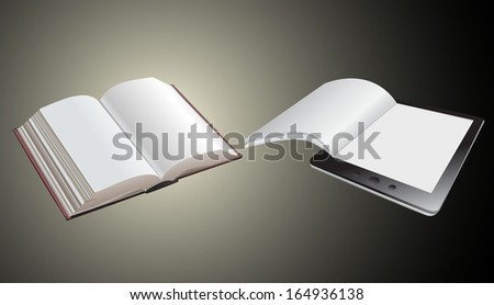 a tablet pc and book - stock vector