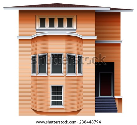 A tall brown building on a white background - stock vector