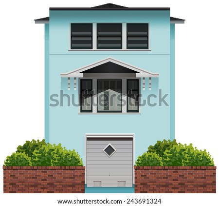 A tall commercial building on a white background - stock vector
