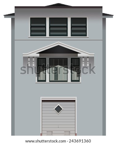 A tall grey building on a white background - stock vector