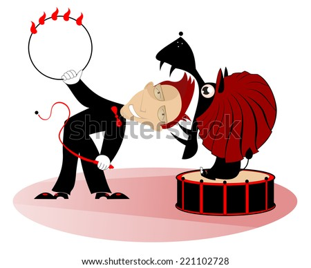 A tamer is getting his head into lion's jaw - stock vector