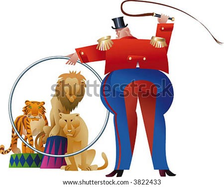 A tamer is making wild beasts jump through his ring. - stock vector