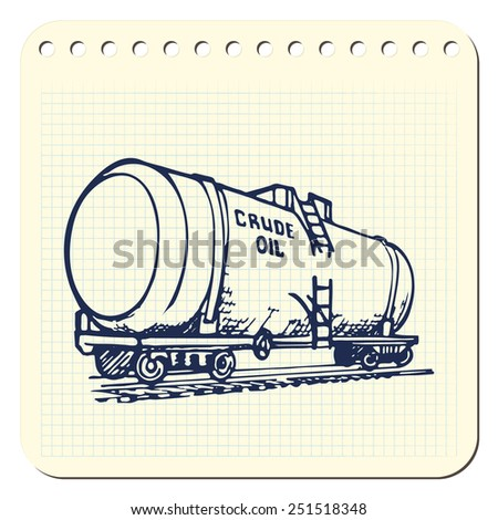 A tank car is a special type of railway rolling stock for transportation of liquid and gaseous commodities. EPS8 vector illustration in a sketchy style imitating scribbling in the notebook or diary.