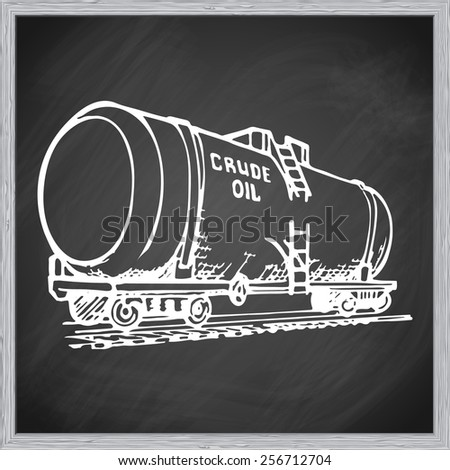 A tank car is a special type of railway rolling stock for transportation of liquid and gaseous commodities. EPS10 vector illustration in a sketchy style imitating scribbling on the blackboard. - stock vector