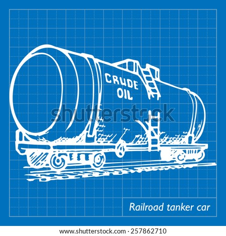 A tanker car is a special type of railway rolling stock for transportation of liquid and gaseous commodities. EPS10 vector illustration imitating blueprint style scribbling with white marker. - stock vector