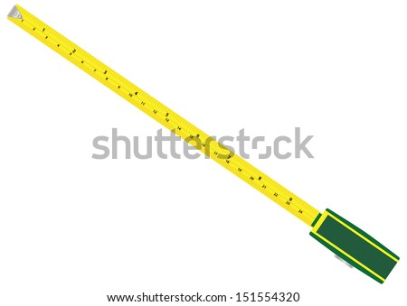 A Tape measure with metric and imperial graduations isolated on white - stock vector
