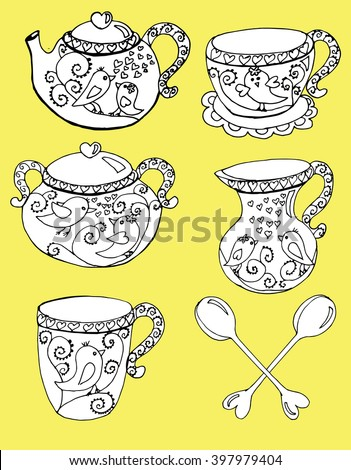 A tea set. Dinner. Decorative cups. Kettle. Line art. Background. Stylized flowers. Leaves. Coffee set. Dishes. Teapot.  - stock vector