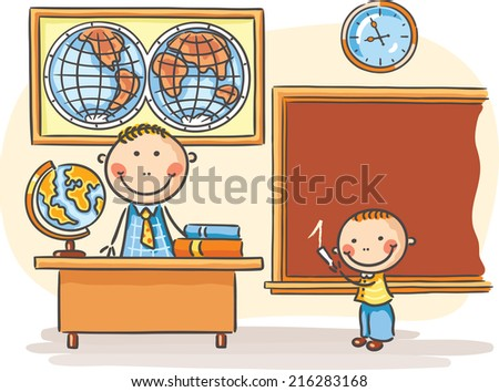 A teacher and a pupil at the lesson in the classroom - stock vector